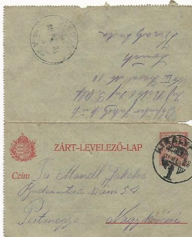 Mandl Jakab tábori képeslapja Királyhida, 1916. május 27.