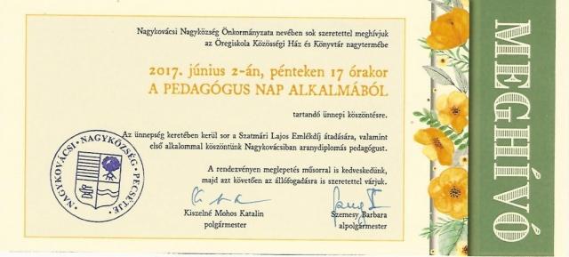 2017-ben együtt ünnepltek a Bölcsőde, az Óvodák, az Iskola és  Zeneiskola pedagógusai.