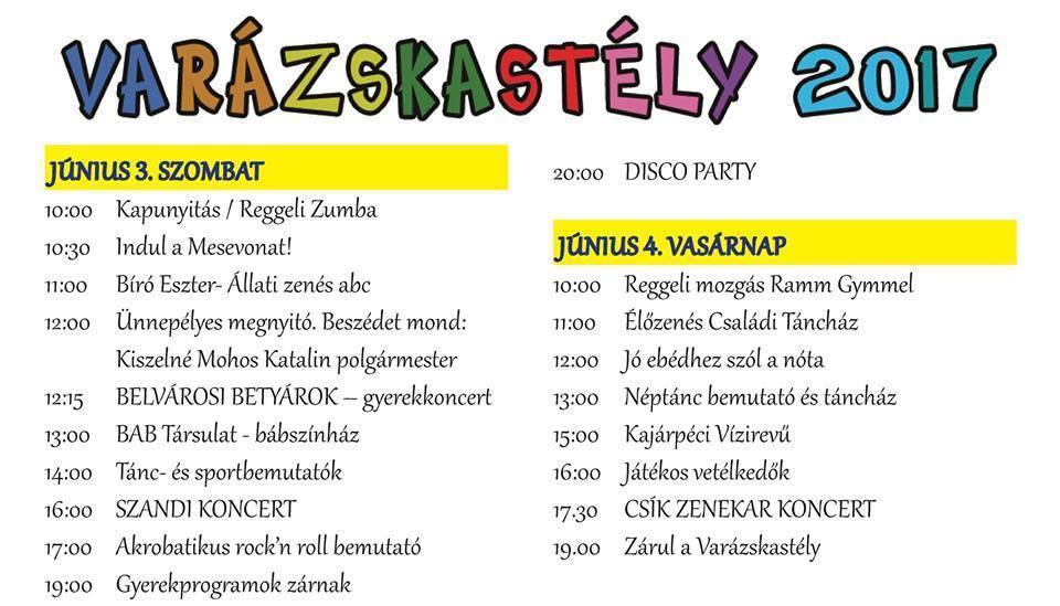 Varázskastély 2017. A műsorok plakátja