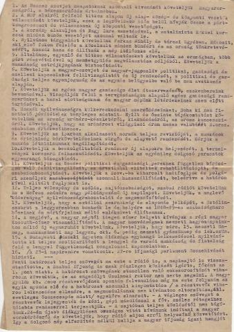 Gépelt, sokszorosított szórólap a 16 ponttal 1956-ból Janits Béla tulajdona
