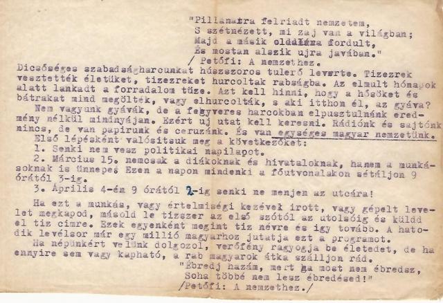 Indigóval sokszorosított géppel írt röplap 1957-ből, a MUK előkészítéséhez Janits Béla tulajdona