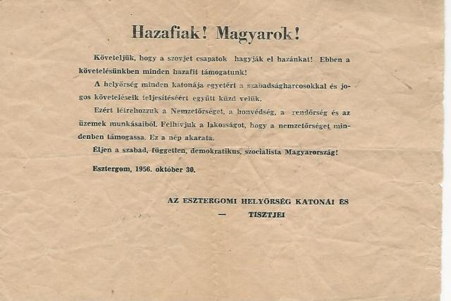 Nyomtatott szórólap az Esztergomi Helyőrség katonáitól Janits Béla tulajdona
