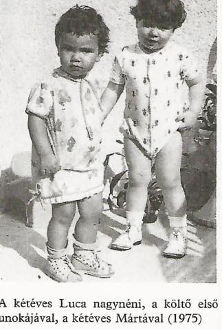 A kétéves Luca nagynéni, a költő első unokájával, a kétéves Mártával (1975) Kormos képeskönyv