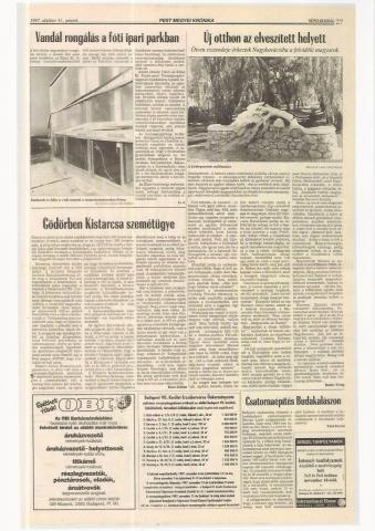 Új otthon az elveszített helyett Népszabadság Pest Megyei Krónika 1997. október 31. péntek
