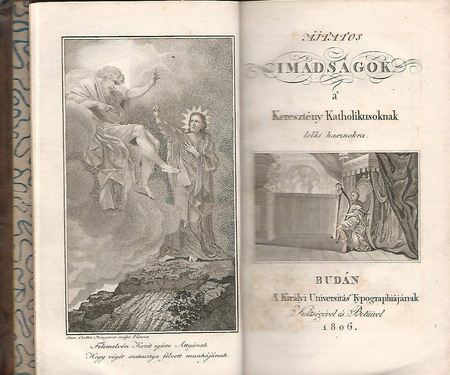 Fejér György Ájtatos imádságok, belső címlap Buda, 1806