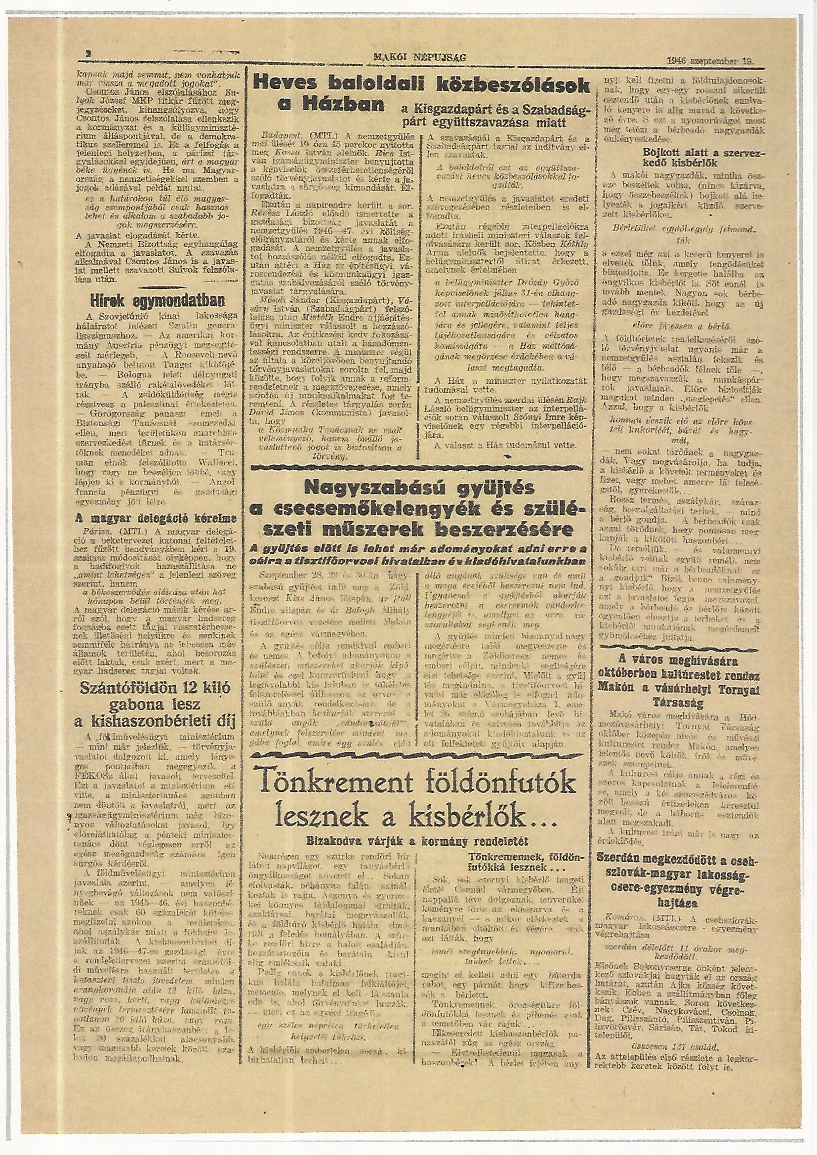 Szerdán megkezdődött a csehszlovák-magyar lakosságcsere-egyezmény Makói Népújság 1946. szeptember 19.
