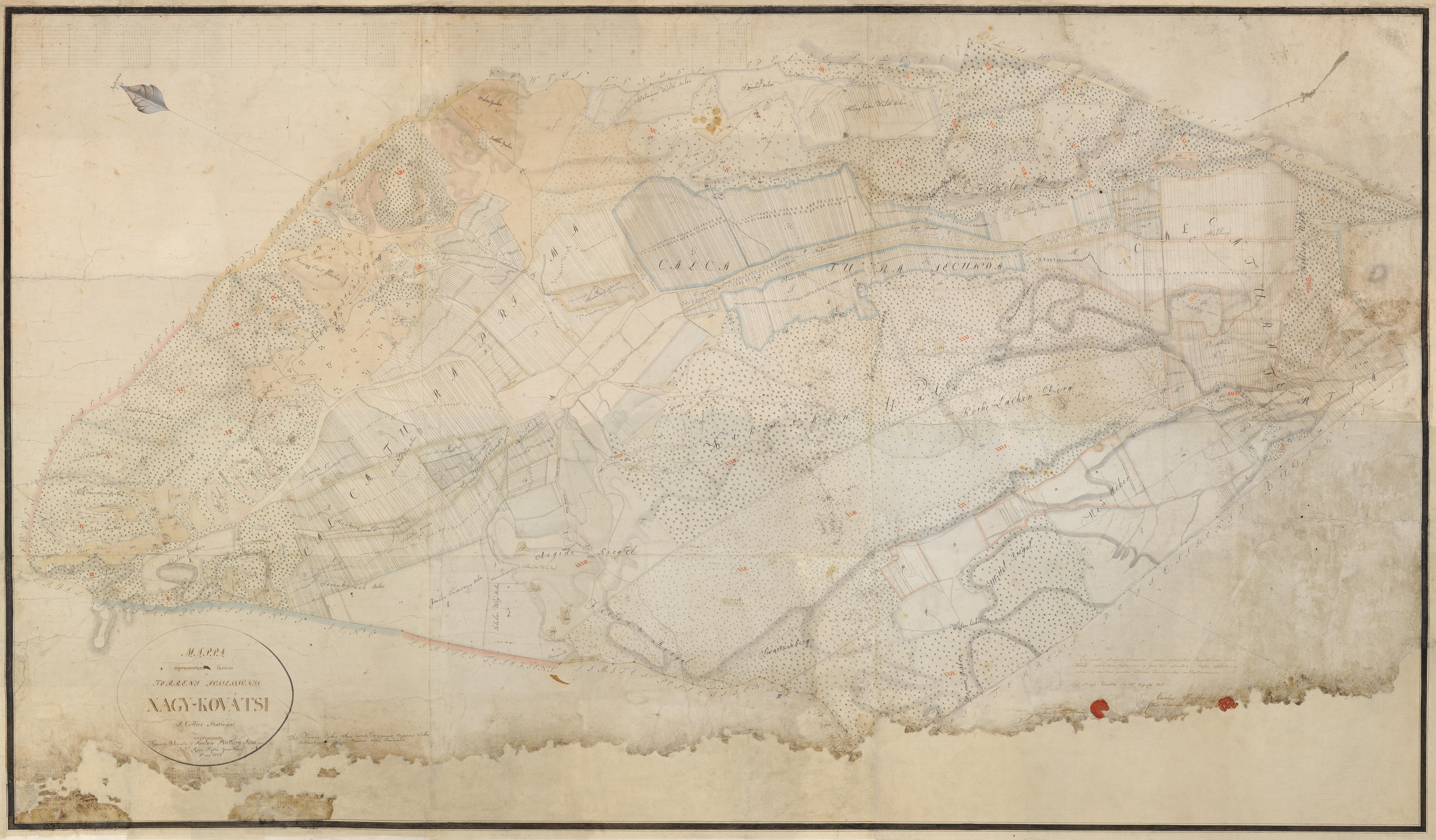 Mappa repraesentaus factem terreny possessionis Nagy- Kovátsi, Birtoktérkép  1817.