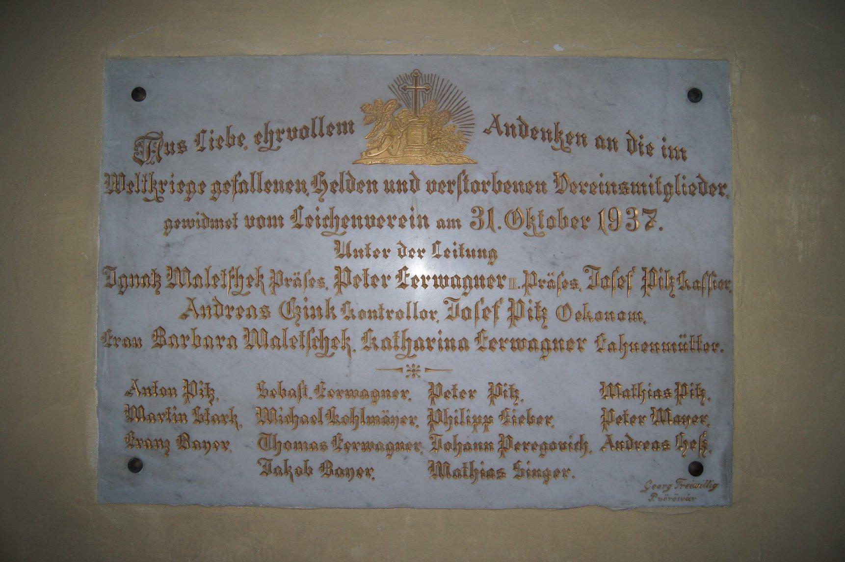 A Temetkezési Egylet elesett tagjainak emlékére állította ezt az emléktáblát és a Hősök kápolnáját 2018. június 30.