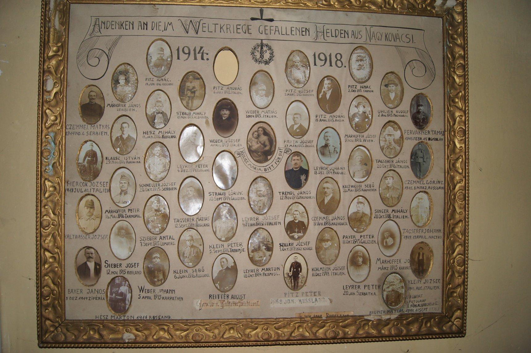 Az I. Világháború áldozatainak tablója a Hősök kápolnájában 2018. június 30.
